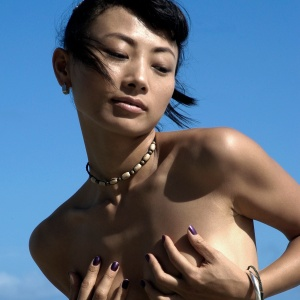 Bai Ling while filming Beautiful Country (off the set)