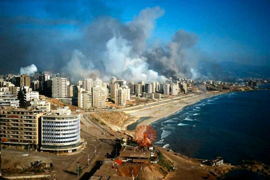 Beirut 1982. The waterfront during a air bombardment by the Israeli jets.
