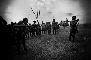 Dani tribesmen during a fest in the mountains of Irian Jaya (1982)