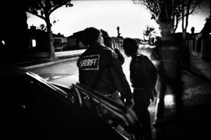 Special anti-gang police making arrest in South Central Los Angeles (1987)