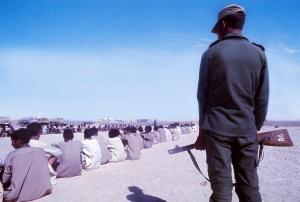 Mauritania, Polisario prisoners in a desert camp 1976