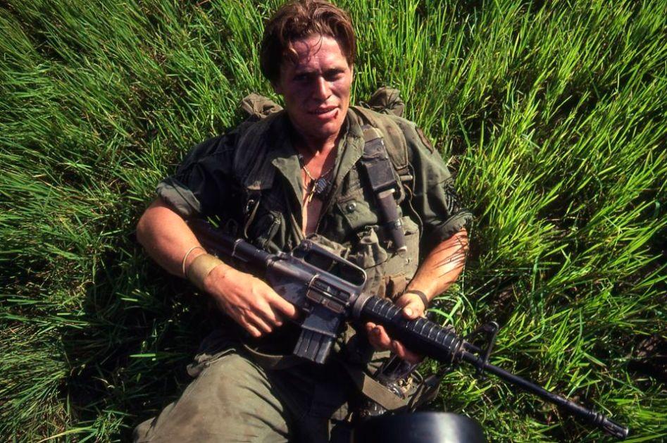 Wilhem Dafoe during the filming of Platoon.