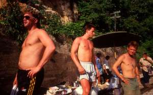Michael J. Fox and 2 friends while shooting Casualties of War