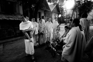 Monks in the early hours of the day in winter in Luang Prabang, Laos (2008)