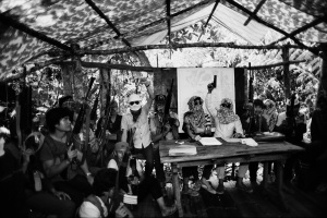 A secret meeting of the NPA and PCP leaders in the jungle of Mindanao, Philippines (1984)