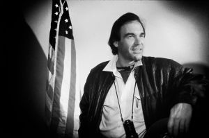 Oliver Stone during the filming of the movie Born on the 4th of July