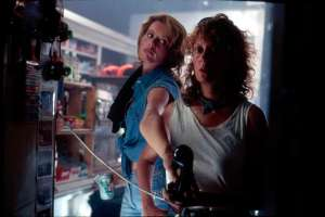 Geena Davis and Susan Sarandon on the set of Thelma & Louise