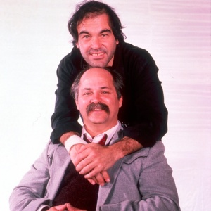 Oliver Stone and Ron Kovic during the filming of Born on the 4th of July
