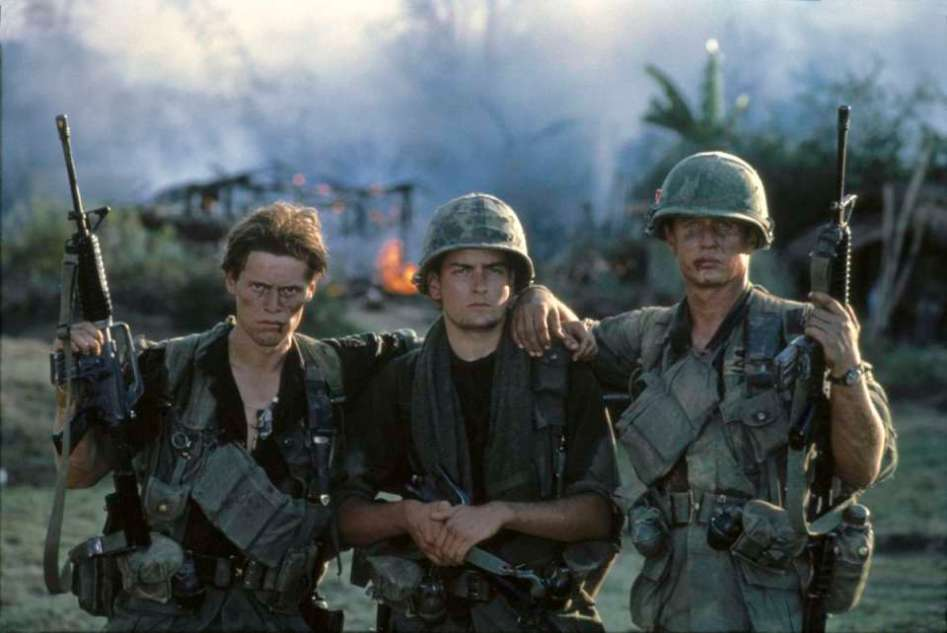 On the set of the shooting of the movie PLATOON. the 3 main characters!
