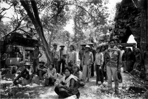 Cambodian refugees at an Angkor era temple on the border with Thailand (1979)