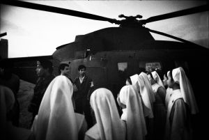 During the revolt against Marcos in the Philippines, a group of nuns trying to rally the Air Force at a base (1986)