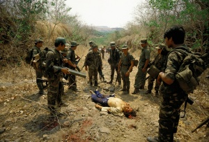 El Salvador a guerrillero has just been killed after a chase by the army