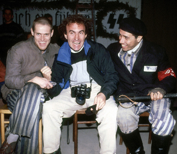 With Willem Dafoe and James Olmos in Poland on The Triumph of the Spirit movie (1990)