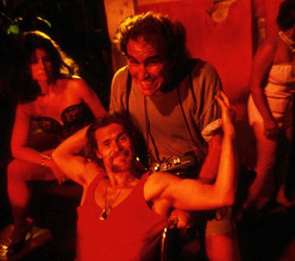 With Willem Dafoe on the set of Born on the 4th of July (Philippines)