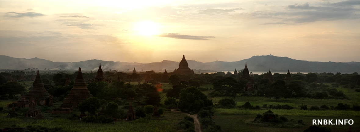 Sunset over the temples of Bagan, seen from the top of the Shwezigon Pagoda.