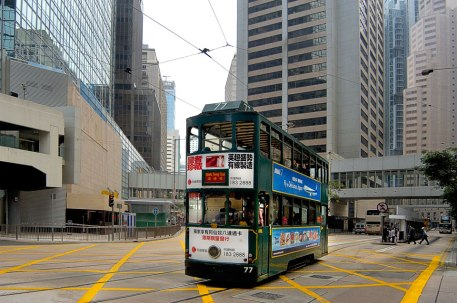 Lone Double-Decker in Central Hong Kong