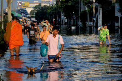 A buddhist monk on his way to his temple on a flooded street of Thonburin the Bang Phlat neighborhood