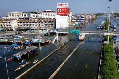 On the north side of Bangkok, along the main highway in Rangsit. A submerged local market and people going about in boats.