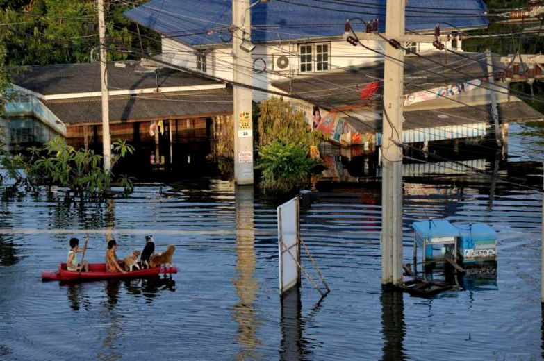 Pathum Thani is an industrial area North of Bangkok and It's main road is flooded. It's bordered on its South by the Rangsit canal along which a 20+ km sandbag wall was build to stop the water going to Bangkok.